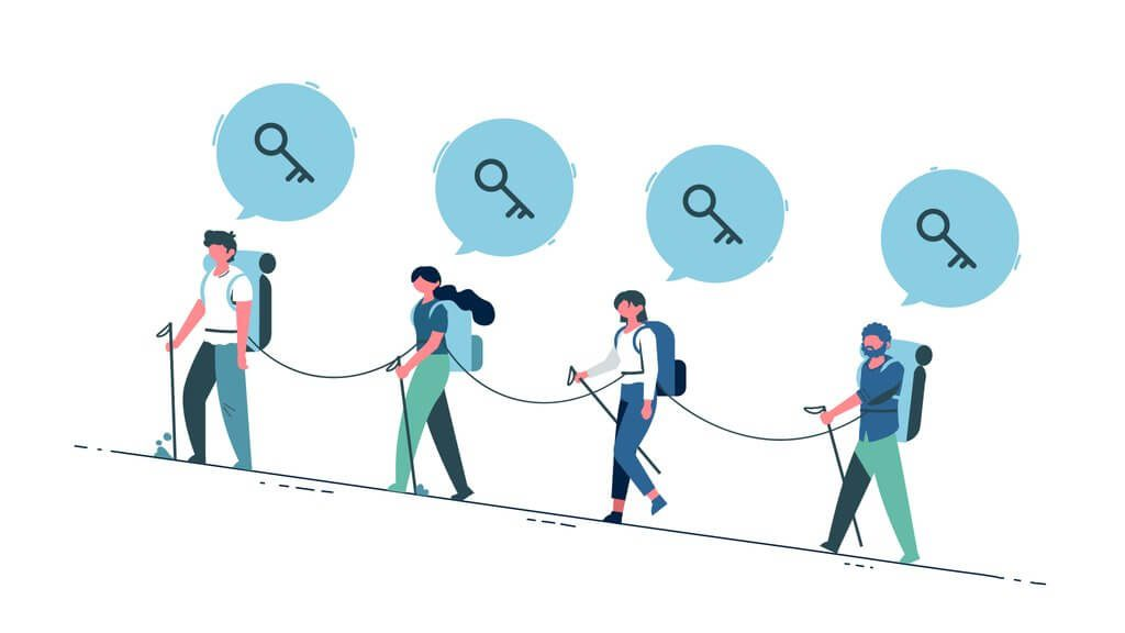 Illustration shows campers in team password manager PassCamp