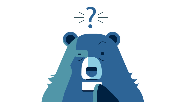 Illustration showing confused bear in password management